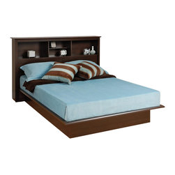 Prepac - Prepac Manhattan Double / Full Bookcase Platform Bed in Espresso Finish - Prepac - Beds - EBD5475KKIT - The Manhattan Bookcase Platform Bed has composite wood construction in an elegant espresso finish. It features clean simple lines and decorative moldings to prevent the mattress from shifting. This Double/Full size bookcase platform bed has a flat surface to eliminate the need for a box spring and the bookcase headboard allows you to place all your bedtime necessities within arms reach. With contemporary design elements the Manhattan Bookcase Platform Bed is the ideal central fixture in your bedroom. With its sleek design the espresso finished Manhattan Collection by Prepac offers you a designer product at an affordable cost. These hybrid products combine solid wood legs with laminated composite wood tops and sides to create stability and affordability with style. Drawers run smoothly on metal roller glides and have high plywood sides for ample storage. Solid knobs with a brushed nickel finish complete the products. Add class and casual sophistication to your home with the Prepac Manhattan Collection.