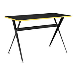 Expound Desk - Whether you need a drafting to computer table, simple expressions are the key to motivation. Everything about Expound imparts movement, while the piece remains as simple and sleek as ever. Covered with a smooth melamine top and positioned on powder coated back steel legs, Expound has all you need without demanding all your attention. Expound is easy to setup, even easier to enjoy, and comes with a yellow rim that works wonders when contrasted with the otherwise all black piece.