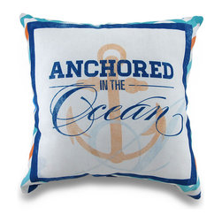 Zeckos - Anchored In The Ocean Indoor/Outdoor Nautical Theme Throw Pillow 18 in. - Perfect for homes with a nautical theme, this 100% polyester Climaweave weather resistant canvas decorative throw pillow will add a colorful accent anywhere inside your home or out featuring a blue, white and orange printed image on either side of a ship's anchor with the words 'Anchored in the Ocean', and bordered with a chevron stripe pattern. The pillow measures 18 inches by 18 inches (46 x 46 cm), and would look amazing tossed on the couch, in your favorite chair on the patio or highlighting your garden bench. It is recommended to spot clean only. It's a great housewarming gift idea perfect to add a crisp splash of color!