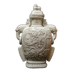 Golden Lotus - Chinese Ceramic White Dragon Elephant Ear Jar - This is a hand made ceramic jar with decent hand made motif of dragon on the body. The ear is made into the shape of the elephant head. The surface is glazed with off white color.