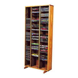 CD Racks - Solid Oak Tower for CD's and DVD's - Handcrafted by the Wood Shed from durable solid oak hardwood