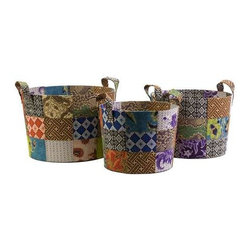 Sidonie Batik Basket - Set of 3 - Unused fabric remnants from local artisans of Indonesia are quilted together to create the pattern of this set of three Sidonie batik baskets.