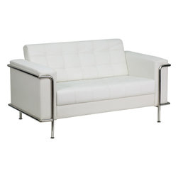 Flash Furniture - Flash Furniture Hercules Lesley Series Contemporary White Leather Loveseat w/ En - This attractive white leather reception love seat will complete your upscale reception area. The design of this love seat allows it to adapt in a multitude of environments with its tufted cushions and visible accent stainless steel frame. [ZB-LESLEY-8090-LS-WH-GG]