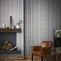 Graham & Brown - Prairie Wallpaper - A sophisticated horizontal charcoal texture wallpaper, juxtaposed with a linear emboss to create a fabric effect. Beautiful silver embellishments finish this unique stripe and will add definition to your home.