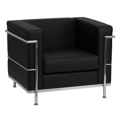 Flash Furniture - Hercules Regal Series Contemporary Black Leather Chair with Encasing Frame - This attractive black leather reception chair will complete your upscale reception area. The design of this chair allows it to adapt in a multitude of environments with its smooth upholstered cushions and visible accent stainless steel frame.