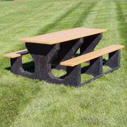 Jayhawk Plastics Commercial Rectangular Picnic Table - Let the barbecue begin! The Recycled Plastic Picnic Table is the most heavy duty picnic table in the industry! It is designed to be placed in service and then left alone so no maintenance is required! This table is made with five 2 by 10 inch recycled plastic planks and black recycled plastic bases. It is made entirely of recycled plastic and has a 5 year structural guarantee and comes standard with zinc-coated hardware. This table can seat up to 6 adults or as many hungry children as you can fit. Item shown above in Cedar. About Jayhawk Plastics Inc.Since 1973 Jayhawk Plastics Inc. has been producing quality plastic furnishings at reasonable prices. Their commitment to superior customer service and quality products has helped Jayhawk become an industry leader. All of Jayhawk's benches and outdoor plastic products are made from 100% recycled plastic. This material gives you the best of both worlds: products made entirely of recycled plastic that also have the beauty of natural wood.Jayhawk's benches tables receptacles and other products are maintenance-free vandal-resistant and environmentally friendly. Because they're made of milk jugs pop bottles and many other forms of post-consumer and post-industrial waste these products save trees and reduce landfill usage. Jayhawk's recycled plastic does not need to be sealed painted or stained and cannot rot. Paint will not bond to the surface and pen and marker can be washed off easily with household cleaning solvents. Jayhawk benches are designed to last many years in the outdoor elements in both residential and commercial applications.