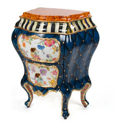 """Colombina Bombay   MacKenzie-Childs - Colombina means """"little dove."""" Known as Arlecchino's love interest in the Commedia dell'Arte, she was flirtatious and impudent, yet always exhibited good judgment. Our Colombina Bombay is hand-painted with ceramic amber-colored glass knobs, gold leaf, floral decals, a faux-tortoise top, and a complement of MacKenzie-Childs specialized surface treatments. Anaglyptic paper lines the two drawers. Hand-painted in Aurora."""