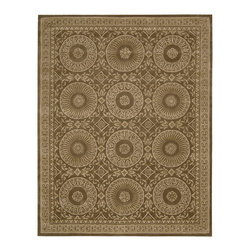 "Nourison - Nourison Versailles Palace VP50 7'6"" x 9'6"" Mocha Area Rug 06700 - Bold in design yet subtle in color, coin medallions march in glowing symmetry on a luscious mocha field rich in foliate detail. The magnificent and formal effect is partnered with a deep, hand-carved pile that warms the room with a sensual, welcoming touch. A focal point for your regal chamber."