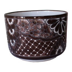 Guava Home - Talavera Outdoor or Indoor Cylinder  Planter, Brown and White - This is a beautiful Talavera style planter perfect for your patio or garden or even your home.