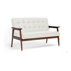 "Baxton Studio - Stratham White Mid-Century Modern Sofa - Make overly-stuffed sofas with a distinct lack of style a thing of the past when you welcome the Stratham Mid-Century Modern Sofa into your home. Were confident you will agree that the beautiful, dark-stained wood frame adds a high level of character to this contemporary living room furniture piece. The white faux leather seat is not only a contrast to the frame, but also packs a punch with great button-tufted detailing and comfortable foam cushioning. The Chinese-made sofa is fully assembled and should be wiped clean with a damp cloth. A matching white Stratham Club Chair is also available as is a black version of both pieces (each sold separately). Seat dimensions: 48.5"" W x 19.5"" D x 17.5"" H. Overall dimensions: 53.63"" W x 29.25"" D x 33 "" H, seat height: 17.5""."