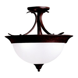 BUILDER - BUILDER Dover Transitional Semi-Flush Mount Ceiling Light X-ZT3263 - A warm Tannery Bronze hue accentuates the traditional shape of this Kichler Lighting semi flush mount ceiling light. From the Dover Collection, the etched seedy glass shade gives it a modern, updated look.