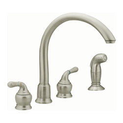 Moen Monticello Stainless two-handle high arc kitchen faucet - The simple beauty of Monticello® provides faucet, tub, showering and accessory options to create a coordinated look in any home.