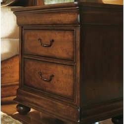 Stanley Furniture - Louis Philippe 3 Drawer Nightstand - 058-13-80 - Shop for Nightstands from Hayneedle.com! The Louis Philippe Three-Drawer Nightstand is handy and adds the finishing touch to your master bedroom. This heirloom quality nightstand is made using cherry select hardwoods and rustic cherry veneers. It is available in either an Orleans or burnished honey finish both of which highlight the woodgrain and make a nice backdrop for the antique bronze bail hardware bun feet and molding. The two drawers are perfect for holding nighttime essentials and are well-made of aromatic cedar to protect clothing.This nightstand has a top large enough for a lamp and even some display pieces. It comes with the two larger drawers and even includes a drawer hidden behind the decorative molding.About Stanley FurnitureSince 1924 the goal of the Stanley Furniture Company has been to manufacture high quality furniture at a price the average American family could afford. To accomplish this goal founder Thomas Bahnson Stanley surrounded himself with the finest furniture craftsmen and instilled in them a sense of pride in building superb quality into every piece of Stanley Furniture. Today that pride is shared by more than 1 750 dedicated associates who have made Stanley Furniture one of the largest most respected furniture manufacturers in the nation.