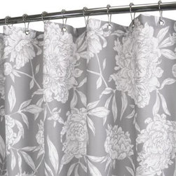 Watershed Peony Shower Curtain - Create an elegant look for your master bath in an instant by adding the Park B Smith Peony Shower Curtain. Smart features includes fast-drying polyester fabric that is machine-washable, requires no inner liner, and is mold and allergy resistant. Grommets at the top make hanging easy and weights at the bottom keep it in place.
