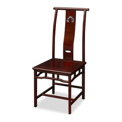 China Furniture and Arts - Rosewood Ming Style Chair - Simple and elegant, this solid rosewood Ming chair is exquisitely hand-carved with the symbol of Chinese good luck, Ru-Yi, in the center of the back. Constructed with traditional joinery technique by artisans in China. The elegant dark cherry finish rounds out its quiet beauty. It is both pleasant to look at and comfortable to sit on.