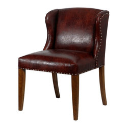 French Heritage - French Heritage Gascon Chair - A well-tailored chair of Florent Marone Leather and warm wood that's as comfortable in a tropical British colonial home as it is in the chicest of New York penthouses.  Handle on Back.