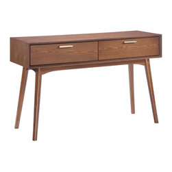 Zuo - Design District Console Table - The Design District Console Table is a 21st century interpretation of classic midcentury modern design. We love it's sleek profile and ample proportions, with strong rubberwood construction in a walnut finish. This workhouse also features two drawers, perfect for storing entry hall necessities like car keys and dog leashes. At nearly four feet long, this generously scaled console table offers plenty of surface area for displaying your favorite objets d'arte. The clean lines and warm wood exterior of the Design District Console Table are sure to serve as a solid foundation for your contemporary entry wall. Or pair two on either side of a bed for unique night stands. The Design District Collection also features a side table and coffee table.