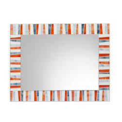 """Mosaic Mirror - Orange, White, Gray, 30"""" X 24"""", Horizontal - MIRROR DESCRIPTION"""