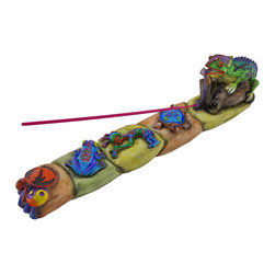 Zeckos - Tribal Lizard Decorative Stick Incense Burner - This colorful incense burner is a beautiful addition to your home. It features a row of stones with colorful characters, including a turtle with a butterfly on its shell, a kokopelli dancing, a tree frog with flames, and vibrant magic mushrooms at the end. At the top sits a lizard with tribal designs with his tongue unrolled to hold the stick of incense. Made of cold cast resin, this piece measures 12 inches long, 3 1/4 inches high, and 2 1/4 inches wide. It has foam pads on the bottom to prevent it from scratching delicate surfaces, so you can display it on any table or desk in your home. It comes with one stick of incense, and it makes a great gift for a friend.