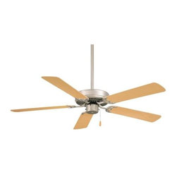 Minka Aire - Minka Aire Contractor Ceiling Fan in Brushed Steel - Minka Aire Contractor Model F547-BS/NM in Brushed Steel with Natural Maple Finished Blades.