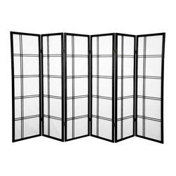 Oriental Furniture - 5 ft. Tall Double Cross Shoji Screen - Black - 6 Panels - This beautiful Shoji screen adapts a traditional Japanese design element for the modern home. Shoji rice paper has been used in Japanese homes for over a thousand years because of its lightweight design, portability, and translucence. This folding screen uses this time-tested material in an elegant double cross spruce frame that can be easily moved and adjusted to partition a room or provide privacy.