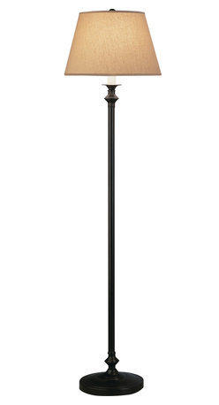 Robert Abbey - Wilton Floor Lamp - Pip, pip, cheerio! This floor lamp features a metal base with antique rust details that are similar to the street lamps you find in London. The parchment shade is the modern twist to the classic shape. Fish and chips not included.