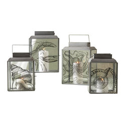 Sea Life Transitional Pillar Candle Holder (2 Sets, Pack of 4 per Set)