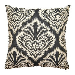 Squarefeathers - Blake, Ikat Pillow - The Blake Collection is perfect for the bachelor's pad. The masculine hues and patterns are asking to be a man's choice. Made of cotton and polyester with a black chenille back and a black jute trim. It has a soft and pump feataher/down insert inclosed with a zipper. Like all of our products, this pillow is handmade, made to order exclusively in our studio right here in the USA.