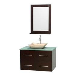 Wyndham Collection - 36 in. Single Bathroom Vanity in Espresso, Green Glass Countertop, Avalon Ivory - Simplicity and elegance combine in the perfect lines of the Centra vanity by the Wyndham Collection . If cutting-edge contemporary design is your style then the Centra vanity is for you - modern, chic and built to last a lifetime. Available with green glass, pure white man-made stone, ivory marble or white carrera marble counters, with stunning vessel or undermount sink(s) and matching mirror(s). Featuring soft close door hinges, drawer glides, and meticulously finished with brushed chrome hardware. The attention to detail on this beautiful vanity is second to none.