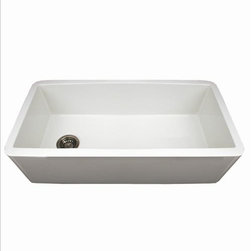 Whitehaus - Whitehaus Wh3618-Blue Duet Sink - Duet reversible fireclay sink with a smooth front apron