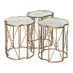 Kathy Kuo Home - Marlene Hollywood Regency Antique Mirror Coffee Table - Set of 3 - This trio of tables configures into an eclectic coffee table, a large and small side table, or three end tables. Antique gold leafing is hand applied to the metal bases, making each piece unique. Add gilded glamour to your romantic room with this mirrored masterpiece.