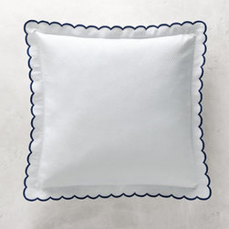Grandin Road - Isabel Embroidered Scalloped Euro Sham - Luxurious white bed coverlet and pillow sham with scalloped trim and solid color embroidered edges. Woven with a subtle quilted diamond texture. Made in Portugal from 100% combed cotton. All pieces are subjected to rigorous testing, so you can rest assured that your beautiful bedding investment will stand the test of time. Each coverlet and sham is sold separately. Finish your guest or master bed with the classic, clean design of the white Isabel coverlet and pillow sham detailed with romantic scalloped edges and colorful embroidered trim. The traditional diamond-quilted weave extends to the end of each rounded corner that's gracefully embellished with a solid color of embroidery. Use the sophisticated coverlet as a decorative bed topper, layer it as a blanket under the duvet or fold one at the end of the bed for use as an extra layer. Pillow sham is trimmed with a matching scalloped-and-embroidered edge flange.. . . . . Machine wash in cold water on gentle cycle; do not bleach. Tumble dry, low; iron as needed.