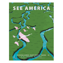 See America, Everglades National Park Print - See America poster celebrating the Everglades National Park. In Southern Florida it is the largest wilderness of it's kind East of the Mississippi. Home to over 350 species of birds and more than 300 species of fresh and saltwater fish to name just a few of the native inhabitantants.Illustration by Steven Thomas in 2013.