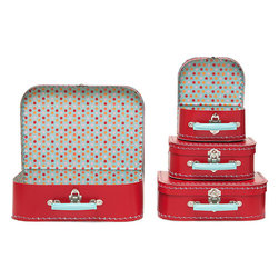 Large Red Multi Dots Suitcases - Red cardboard suitcases can be used as decor or as cases for treats, craft supplies or party favors. Use them for storage after the party's over.