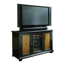 Hooker Furniture - Hooker Furniture Telluride Plasma Console in Painted Black Finish - Hooker Furniture - TV Stands - 37055455 - The Telluride collection of Entertainment consoles uses unique design cues and traditional styling to create this one-of-a-kind pieces. This entertainment console features etched brass doors that are set in wood framed doors and are accented with brushed metal door pulls. The unit also features adjustable shelving and a central glass door for easy point-and-click from your remote to the audio visual consoles. The console is finished in a painted black with rub-through and some physical distressing.       Features: