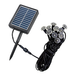 Lamps Plus - Contemporary Ten-Light Solar LED Mini String Lights - Illuminate steps strubs flags address markers and other landscape elements with these mini string lights that have a variety of usages. Plus with their LED design and included solar panel they offer energy efficient savings. Finished in black with an integrated photocell. Black finish string lights. Includes solar panel. Manual on/off switch. Dusk to dawn sensor. Integrated photocell. Plug-in design. Includes ten .07 LEDs. 3000K color temperature. 20000 average lifespan. When charged lights last 9 to 10 hours. Includes 6 feet of cable from pantel to first light. Includes 6 feet of cable between each light.  Black finish string lights.  Plug-in design.  Includes solar panel for solar use.  Includes ten .07 LEDs.  3000K color temperature.  Bulb life averages 20000 hours at 3 hours per day.  When charged lights last 9 to 10 hours.  Integrated photocell.  Dusk to dawn sensor.  Manual on/off switch.  Includes 6 feet of cable from pantel to first light.  Includes 6 feet of cable between each light.