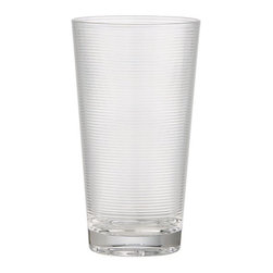 Ridged Acrylic Highball Glass - Eye-catching ridged design textures tapered acrylic barware with the look of glass.