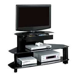 Monarch Specialties - Monarch Specialties I 2000 Glossy Black Wood / Metal 48 Inch TV Console - This glossy, black wood contemporary media console will be a lovely addition to your home, perfect for your living room, family room, or even bedroom. Three tiered black tempered glass shelves are sized from small to large, ideal for holding media players, gaming consoles, movies, and other accessories. Cord management holes allow you to prevent clutter and organize all your media player wires. Add this stylish, metal console to your home for an instant style update. TV Console (1)