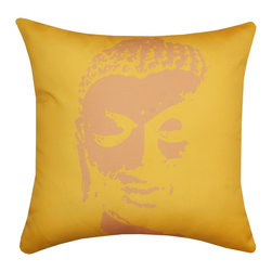 DD - Buddha Outdoor Pillow, Yellow - Experience a sense of zen and serenity with this Buddha outdoor pillow.