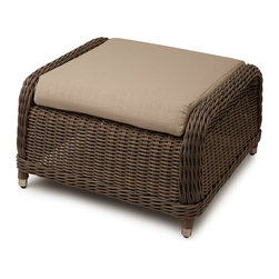 Alcee Resin Wicker Ottoman - Great paired with a lounge chair or loveseat from the Alcee Collection, this resin wicker ottoman provides comfort and style.