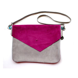 Color Blocked Suede Envelope Cross Body Bag by R.pellicer - This envelope-style clutch comes in a variety of colors and keeps your hands free.