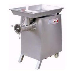#42 Commercial Meat Grinder - This is one powerful grinder. All stainless steel chamber, designed to the latest US and EC safety standards. Single handle locking mechanism releases chamber for easy cleaning. These models have forward direction only and are stainless steel with 6mm & 8mm mesh plates & knife included!