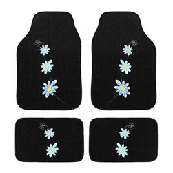 INSTEN - Automotive 4-piece Blue Daisy Embroidered Floor Mat Set - Add a touch of whimsy to your cars interior with this daisy-print automotive floor mat set. A traditional daisy motif embroidered on a jet black pile makes the details of this design come to life. The dark background easily conceals unsightly dirt.