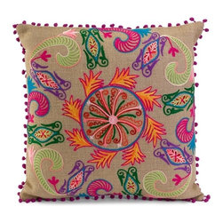 IMAX CORPORATION - Haley Pillow - Embroidered taupe jute takes on a spicy look with the bold colored medallion design of the Haley pillow. Find home furnishings, decor, and accessories from Posh Urban Furnishings. Beautiful, stylish furniture and decor that will brighten your home instantly. Shop modern, traditional, vintage, and world designs.