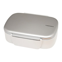 Takenaka - Bento Box Single with Fork, Silver - Distinctively elegant yet simple in design, Takenaka's Bento Box Single gives the traditional Japanese meal box a contemporary appeal. Its lockable lid and removable divider help you store food securely within, making it easy (and stylish) to carry food on the go!