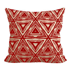 """Fiber and Water - Red Aztec Pillow - No Pillow Insert. Cover Only - A unique Aztec patterned pillow. Add a little funkiness to your sofa. This hand-printed piece of art has beautiful texture from a combination of natural burlap and water-based paints. Dimensions: 19""""x19"""". Front: 100% Sultana Burlap w/ Hand-Pressed Print in Red. Back: 100% Natural Duck Cloth Canvas. French Seams & Surged Edges. Aluminum Hidden Zipper. Spot-Clean Only. As always, Made in Maine."""