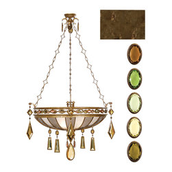Fine Art Lamps - Encased Multi-colored Gems Pendant, 712240-1ST - Bring light and luxury into your home with this remarkable pendant fixture. A venerable bronze patina, intricate chains and a bevy of beautiful crystal gems combine for a stunning effect.