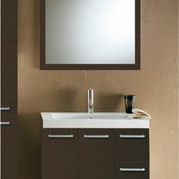 Iotti - 30 Inch Bathroom Vanity Set - Distinctive Italian styling in three deluxe finishes (Glossy White, Wenge and Natural Oak) gives this vanity set a compact footprint and superior looks to match your d�cor. Solidly built from E1 Ecological panels, this vanity cabinet has wide handles, two doors and twin drawers with soft close mechanisms for long life. The framed, scratch and corrosion resistant mirror will last for years. You get more than five inches of shelf space on the fitted solid resin sink. Comes complete with vanity light. Set Includes: . Vanity Cabinet (2 doors, 2 drawers). Fitted ceramic sink (30.4 inch x 17.3 inch ). Mirror (30.9 inch x 27.7 inch ). Vanity Light. Vanity Set Features:. Vanity cabinet made of engineered wood. Cabinet features waterproof panels. Available in Wenge (as shown), Natural Oak, Glossy White. Cabinet features 2 doors, 2 soft-closing drawers. Faucet not included. Perfect for modern bathrooms. Made and designed in Italy. Includes manufacturer 5 year warranty.
