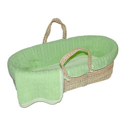 Sleeping Partners - Green Cable Knit Moses Basket Set - Green Cable Knit Moses Basket
