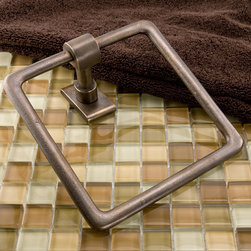 Solid Bronze Classique Towel Ring - Add a touch of sophistication to your bathroom with this designer towel ring, which features a stylish rectangular backplate.